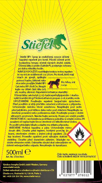 Stiefel Repelent RP1, dlouhotrvající, šetrná ochrana proti hmyzu bez zápachu, gel pro nepřístupná místa 500 ml