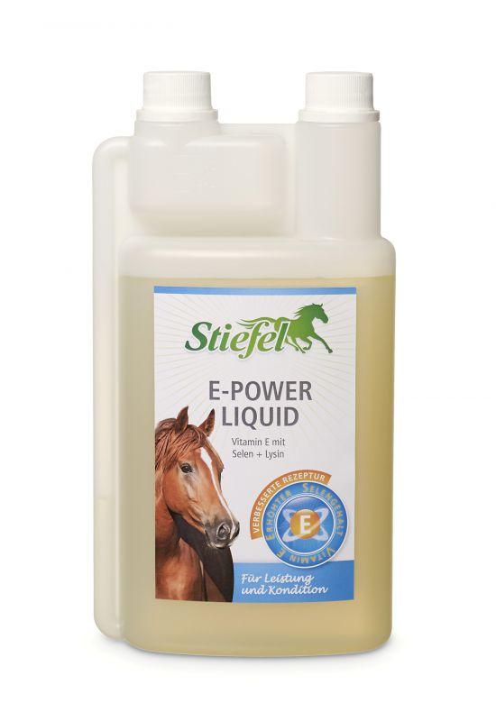 Stiefel E-Power liquid, pro výkon a kondici, pro chovné klisny a hřebce, láhev s dávkovačem 1l