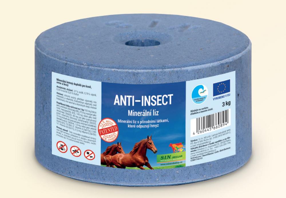 Anti Insect, minerální liz spřírodními látkami, které odpuzují hmyz