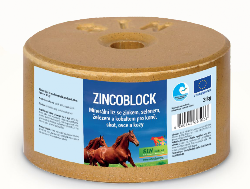 S.I.N. HELLAS Zincoblock, minerální liz se zinkem, selenem, železem a kobaltem 3kg