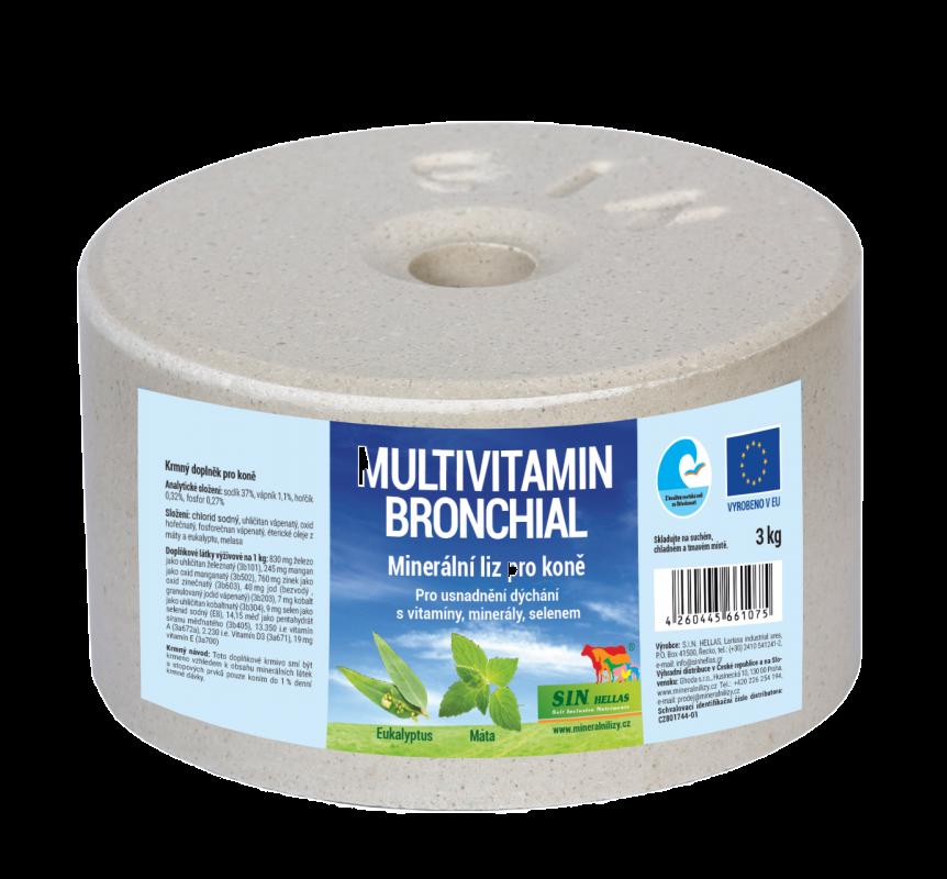 Bronchial, minerální multivitaminový liz s éterickými oleji z máty a eukalyptu